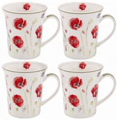Poppy Design Floral Mugs - Set Of 4