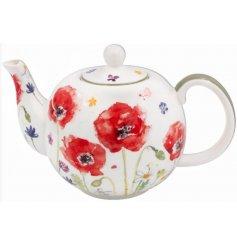 Floral Design Poppy Teapot