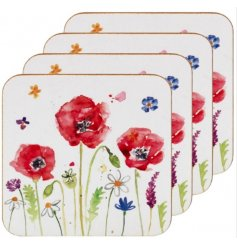 set Of 4 Poppy Coasters