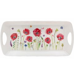 Medium Sized Tray With Poppy Design