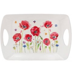 Large Tray With Poppy Design