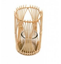 Candle Holder in Rattan