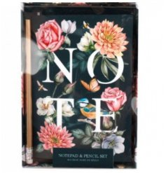 Notebook and Pen Gift Set in Floral Design, A6 size