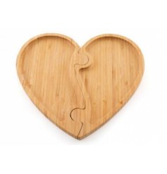 Bamboo Tray in Heart Design, 24.5x26.7