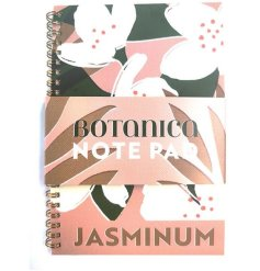 A pastel pink notebook printed with jasmine flowers