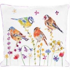 A Beautiful Cushion in Bird Garden Design