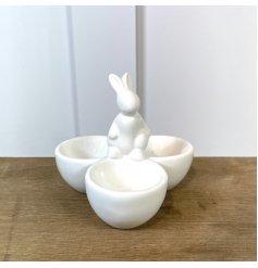 A Delightful Ceramic Three Egg Cup with Rabbit Design