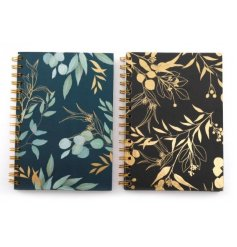 2 Assorted Stunning A5 Notebooks with Leaf Decal