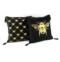2 Assorted Elegant Scatter Cushions in Bee Design