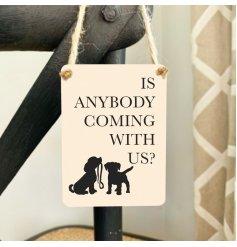 A simplistic hanging mini metal sign