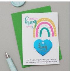 A Birthday Hug Heart with Rainbow Card