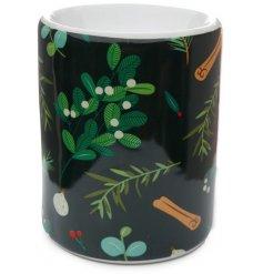 A Ceramic Oil Burner in Mistletoe & Pine Decal