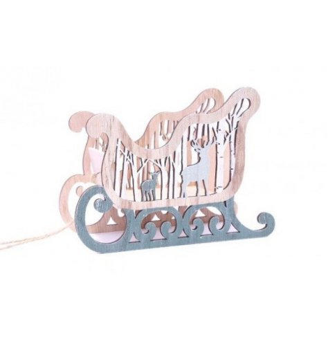 A Rustic Styled Wooden Sleigh Decoration