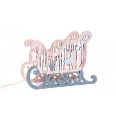 A Charming Wooden Grey Sleigh Decoration