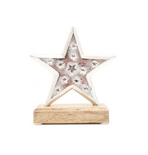 A Distressed Finished Star on Wooden Base