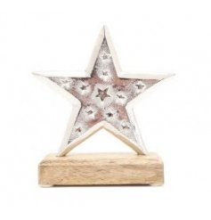 A Rustic Styled Star on Wooden Base