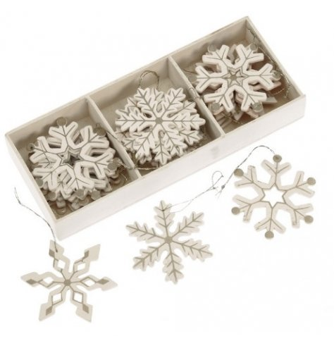 A Soft, Neutral Set of Snowflakes in Silver and Cream