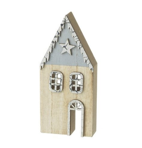 A Wooden House Decoration with Blue Detailing