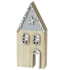 A Blue and Neutral Wooden House Decoration
