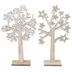 2 Assortment of Wooden Rustic Star and Snowflake Mix