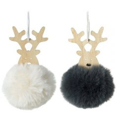 2 Assorted Wooden Reindeers with Pompom bodies