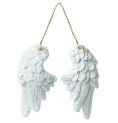 Stunning White Angel Wings in White with Glitter