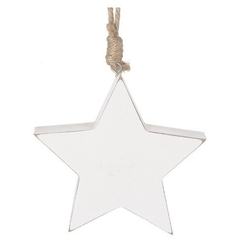 A Distressed Finished White Wooden Star