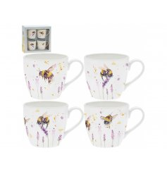A Delightful Set of Four China Mugs in Bumble Bee Design