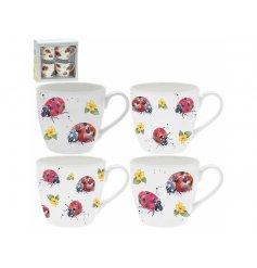 A Stunning Set of 4 Fine China Watercolour Mugs