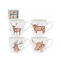 A Wildlife Inspired Set of 4 Fine China Mugs