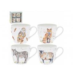 A Set of 4 Watercolour Inspired China Mugs