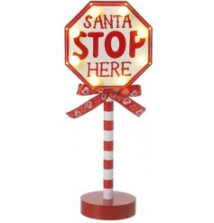 A Light Up White & Red Christmas Sign