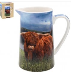 A Large Ceramic Jug with Highland Cow Print