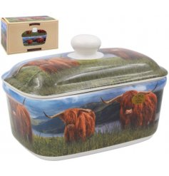 A Charming Ceramic Butter Dish with Highland Cow Design