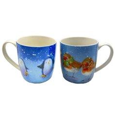 A Charming Set of 2 Porcelain Christmas Mugs