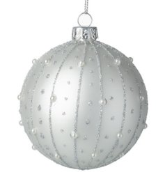 An Elegant Glass Bauble with Silver and Pearl Details