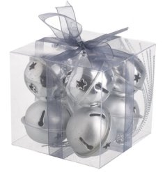 A Delightful Set of Silver Bells with Cut Out Decal