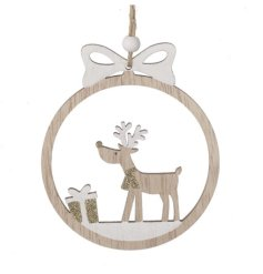 A Wooden Cut Out Decoration with Reindeer