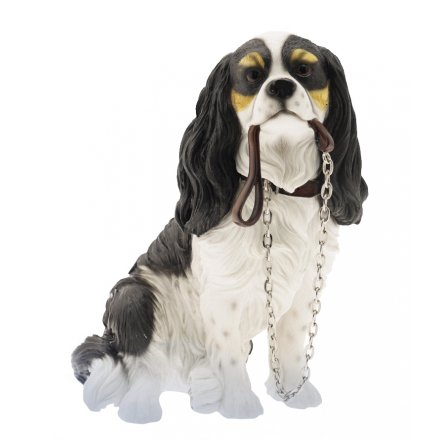 CAVALIER KING CHARLES SPANIEL SITTING WITH LEAD[gainsboroughgiftware]