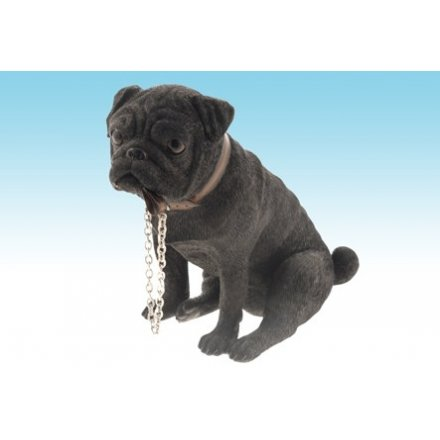 Walkies Black Pug Dog Figurine