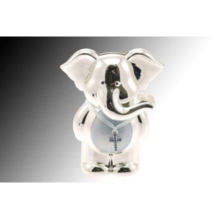 Silver Plate Elephant Money Bank Blue