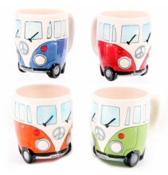 A mix of fine China Mugs each set with a quirky colourful camper van inspired decals