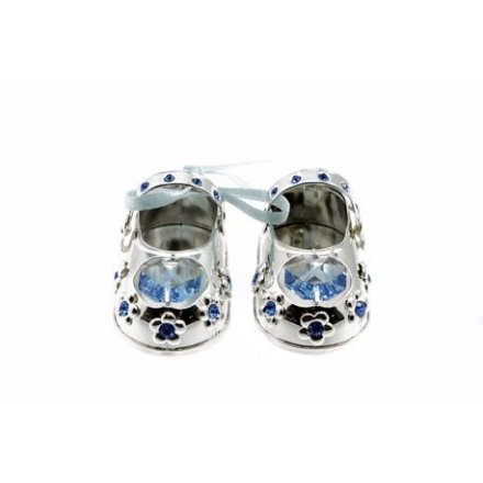 Silver Plate Crystal Baby Shoes Blue